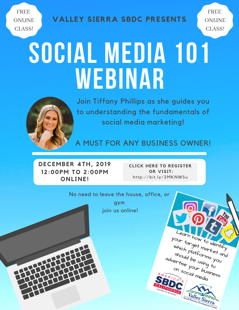 Event Flyer, Social Media 101, Join Tiffany Phillips as she guides you to understanding the fundamentals of social media marketing!  A MUST FOR ANY BUSINESS OWNER!