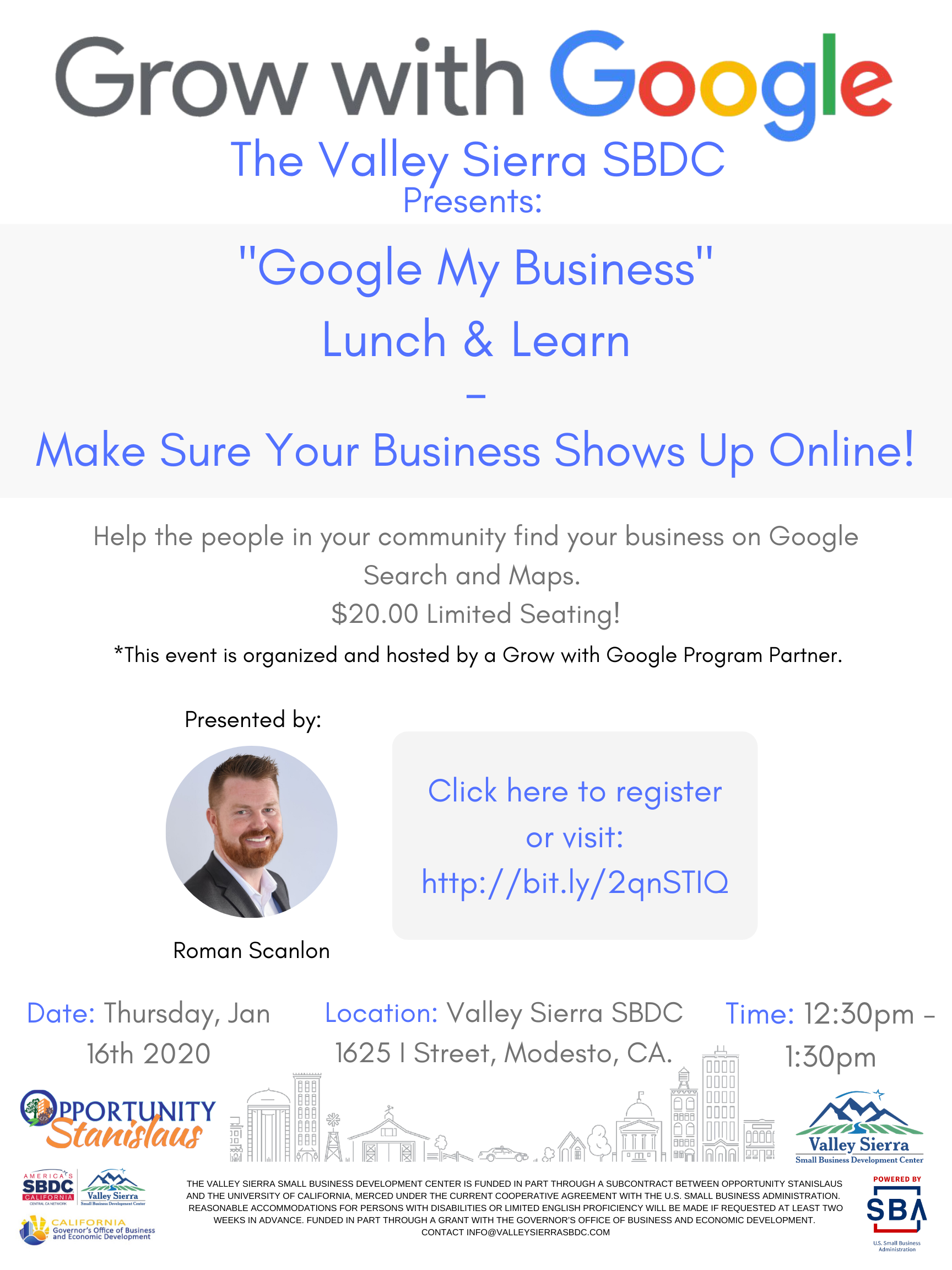 Event Flyer, Google My Business, $20.00 Lunch & Learn Thursday, January 16th 2020 from 12:30pm - 1:30pm. Register Today!