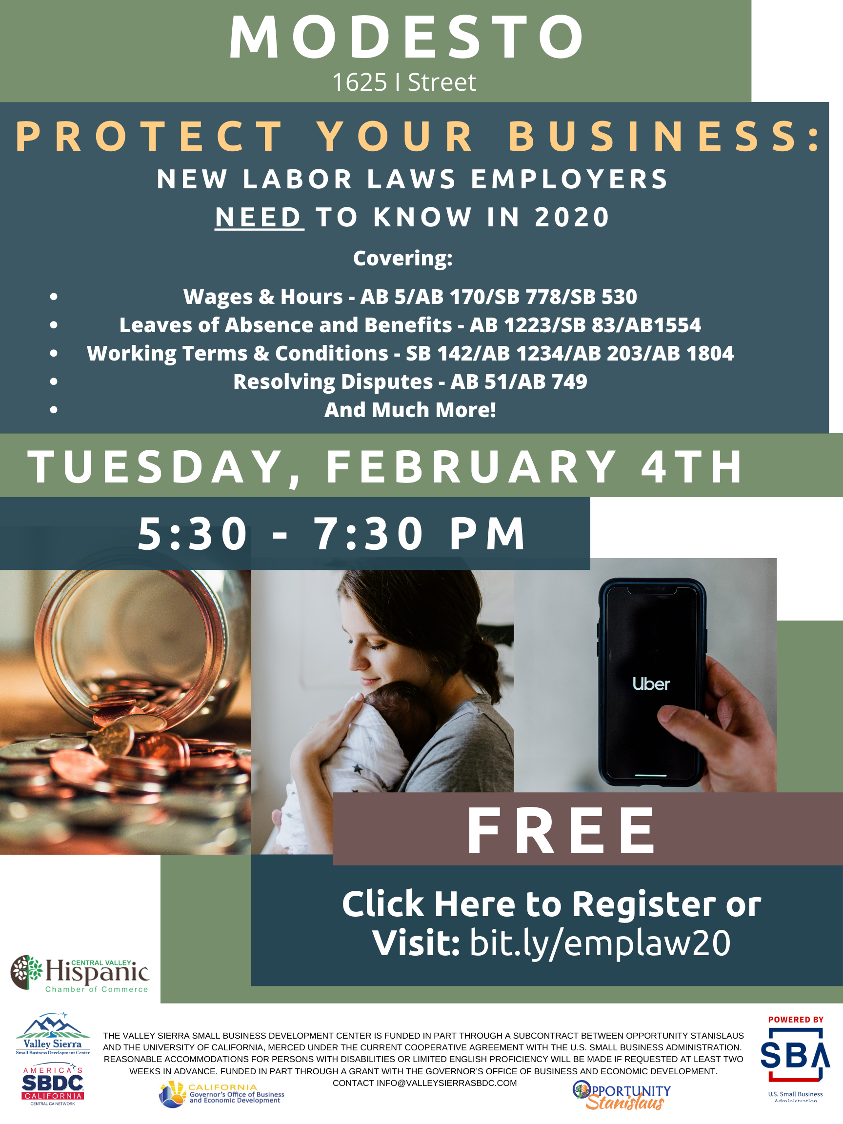 Event Flyer, 2020 New Labor Laws: What Employers Should Know. FREE 2/4/2020, 5:30pm - 7:30pm at the Valley Sierra SBDC, 1625 I STreet, Modesto, CA.