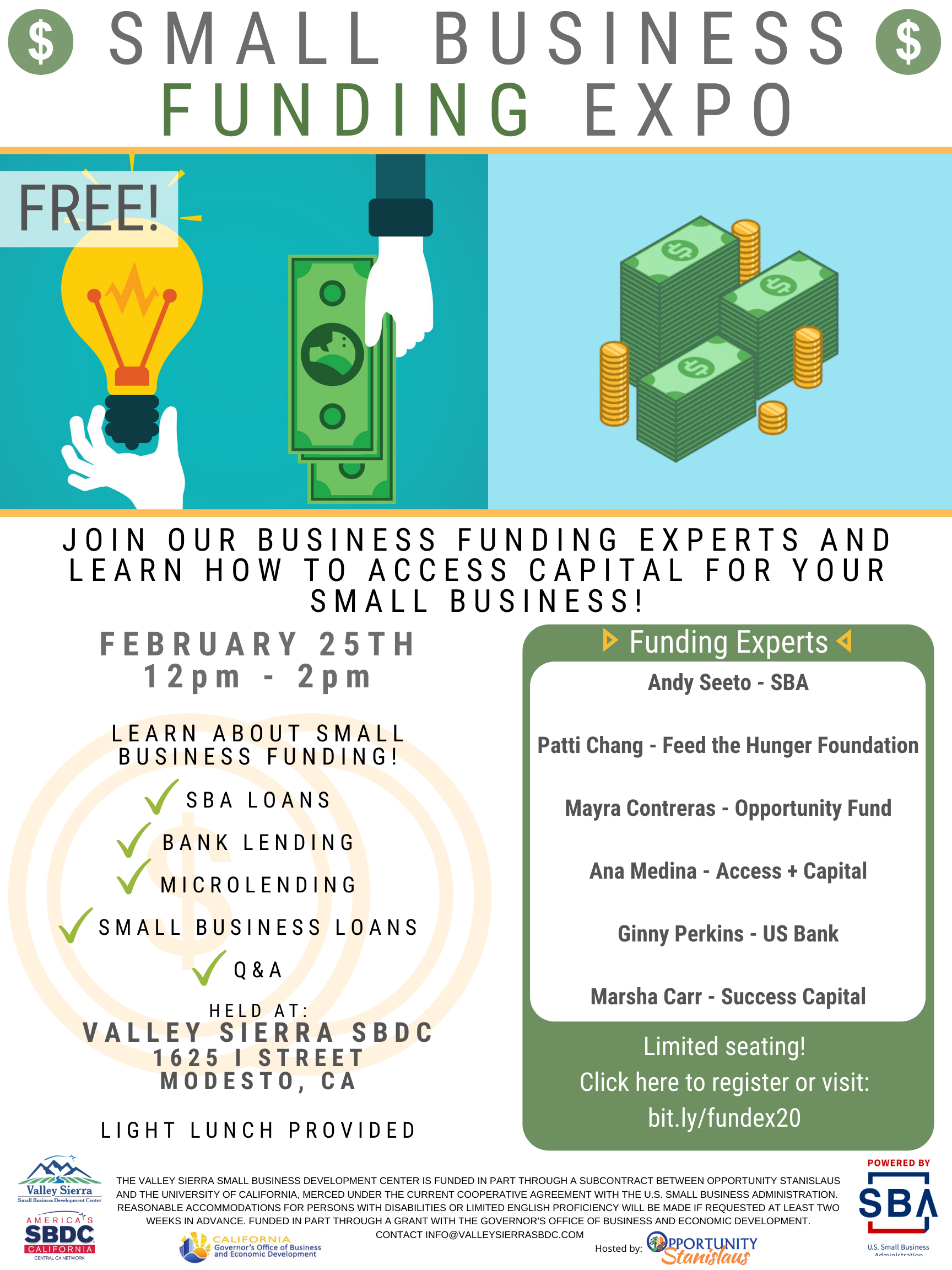 Event Flyer, Small Business Funding Expo, Feb 25th, Free. At the Valley Sierra SBDC.