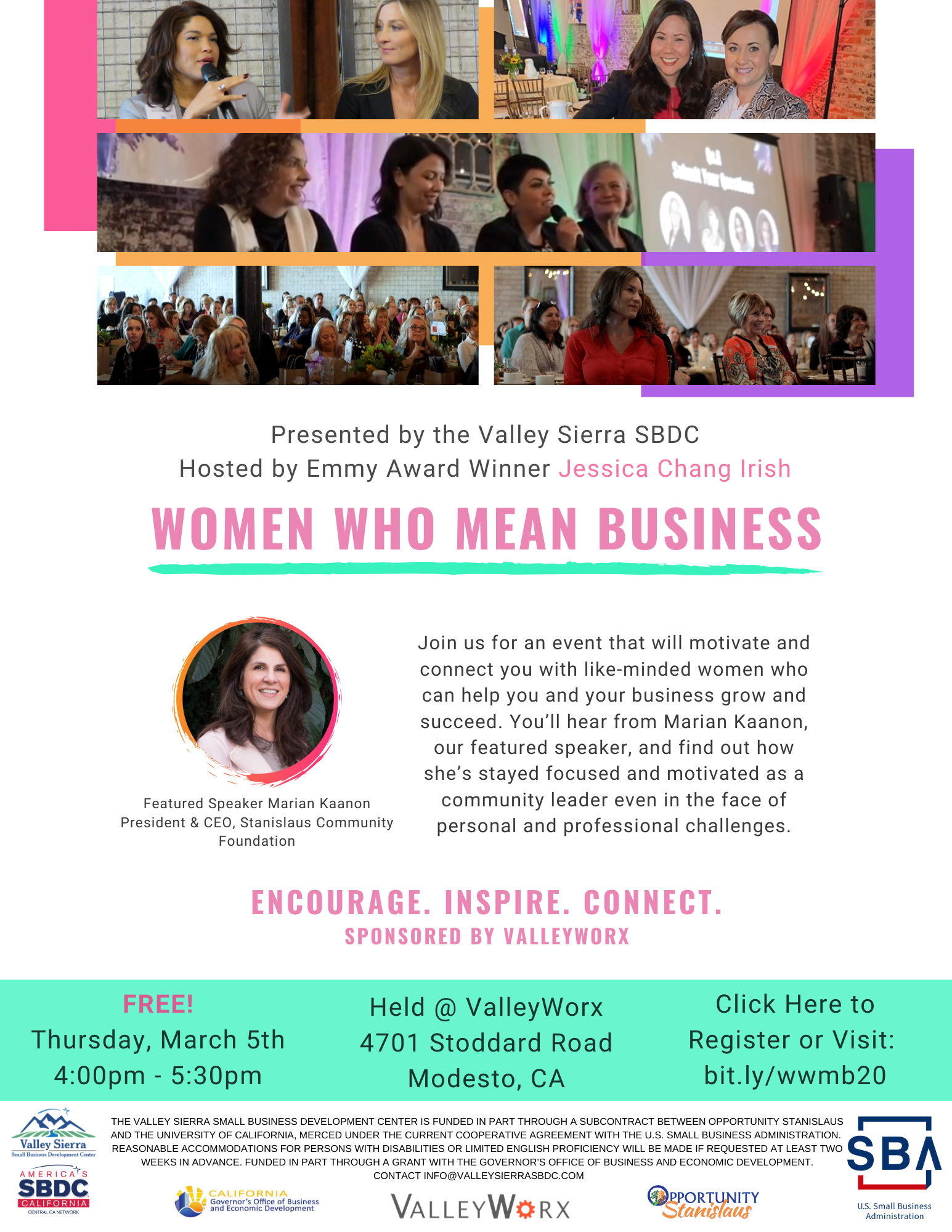 Event Flyer, Women Who Mean Business. 3/5/2020, 4:00pm-5:30pm. FREE. At ValleyWorx 4701 Stoddard Road, 2nd floor lobby, Modesto, Ca.
