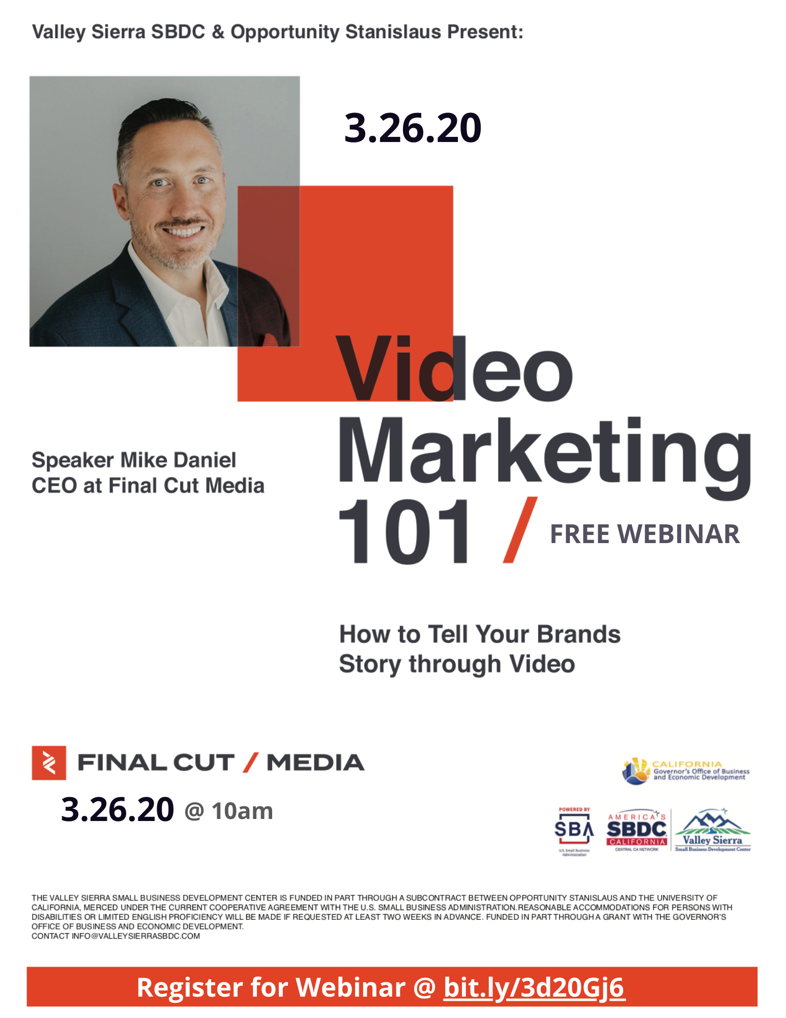 Event Flyer, Changed to Webinar, Video Marketing 101, @ the Valley Sierra SBDC, FREE.