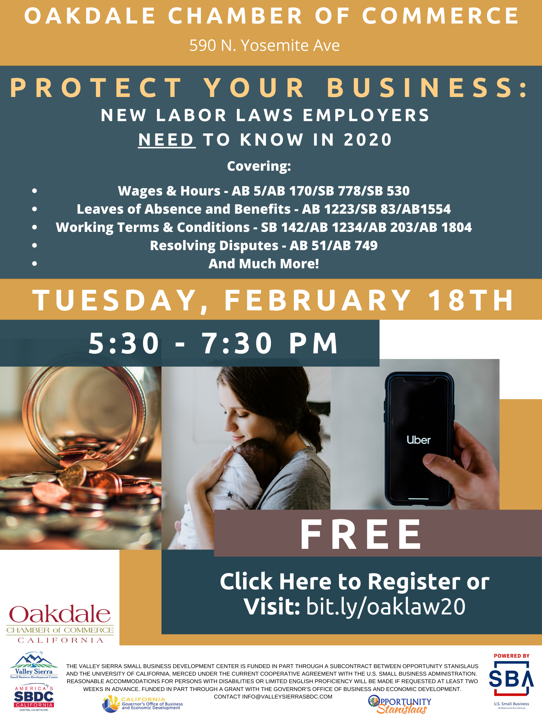 Event Flyer, Oakdale Employment Law Updates for 2020, Oakdale Chamber of Commerce. 2/18/2020, FREE.