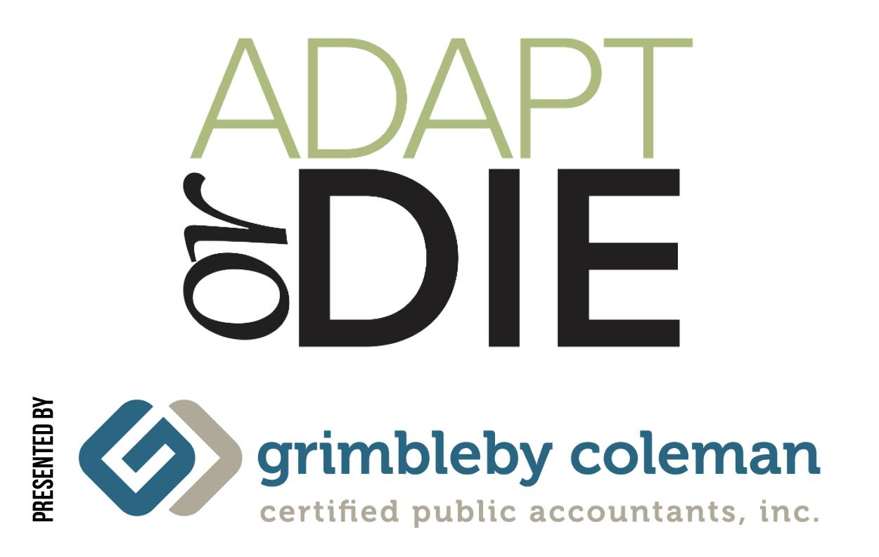 Adapt or Die Logo sponsored by Grimbleby Coleman