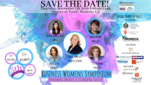 Save the Date flyer for 5th annual business women's symposium. featuring keynote speaker and panelist.